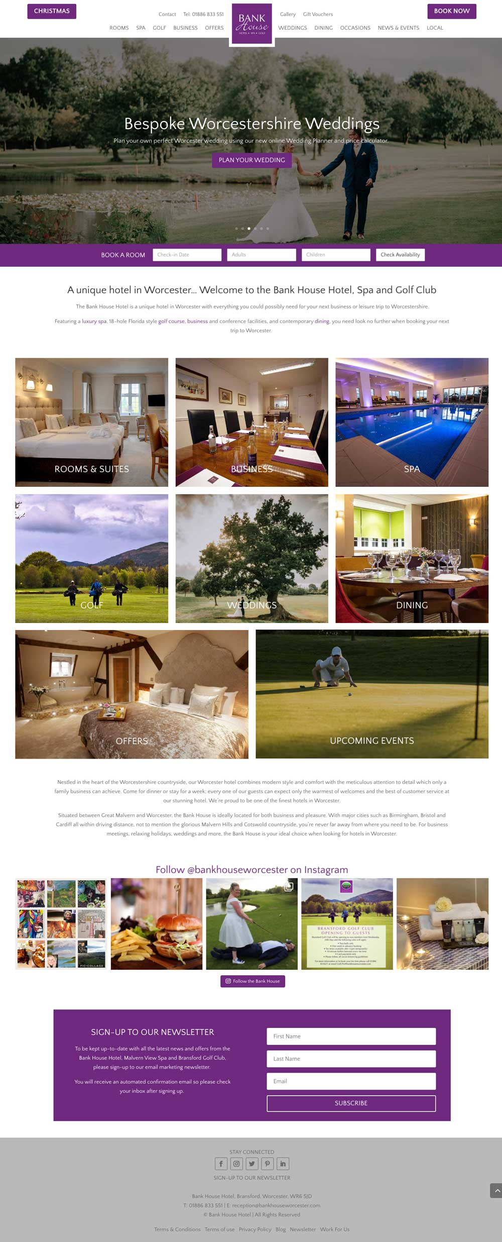 Bank House Hotel web design